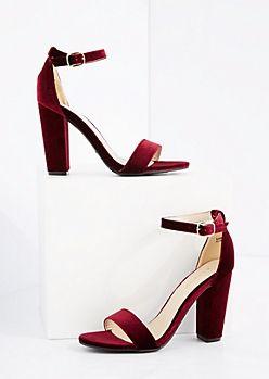 0fd7b165798 Burgundy Velvet Blocked Heels