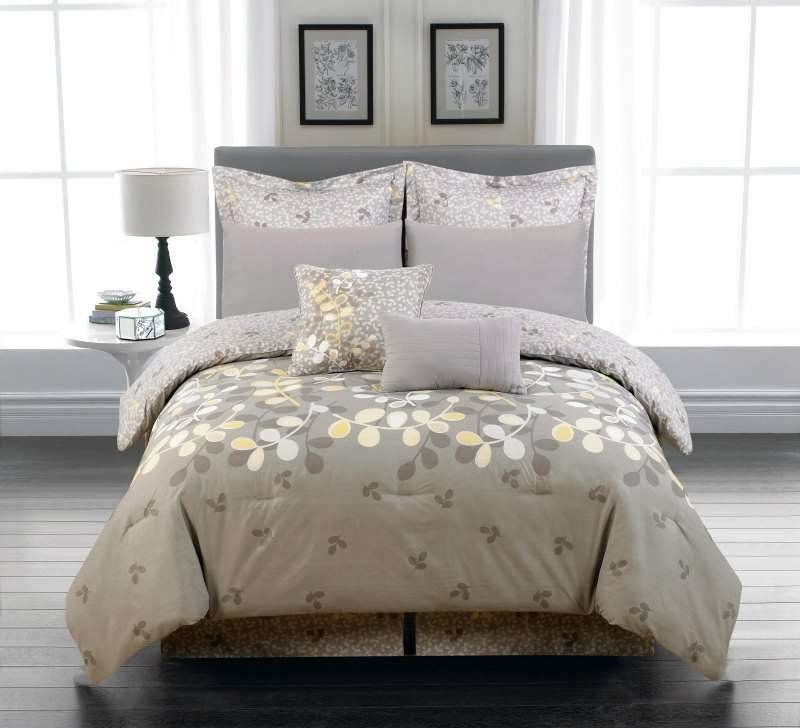 duck river textile eliana leaves yellow grey 6pc oversized. Black Bedroom Furniture Sets. Home Design Ideas