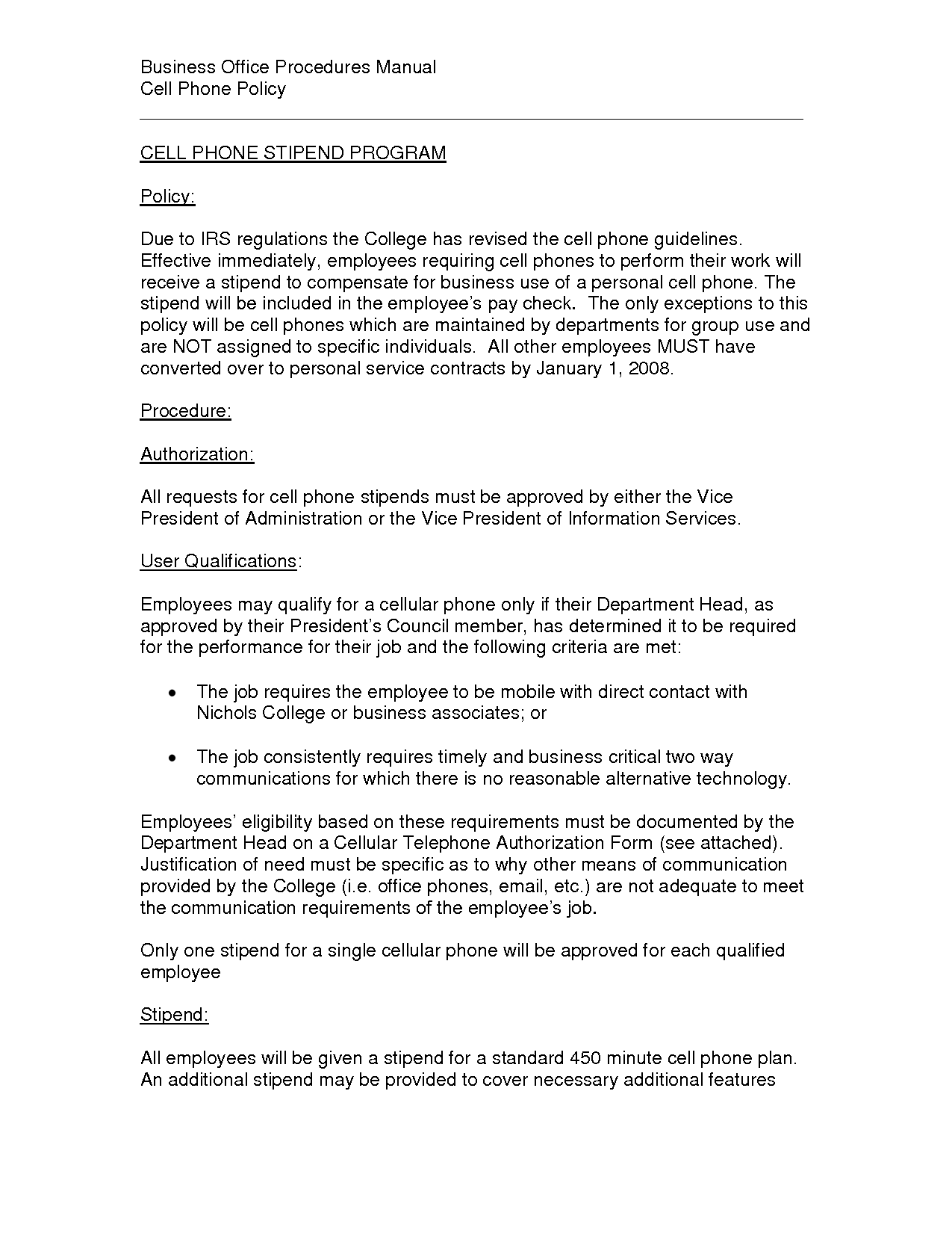 cell phone policy workplace sample pdf