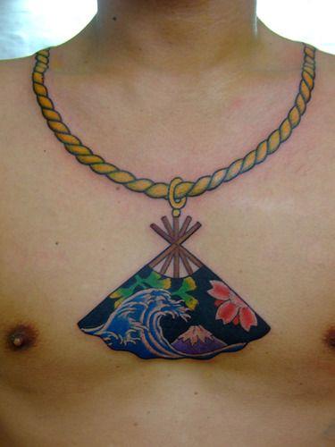 Japanese Fan And Rope Neck And Chest Tattoo Tatulu S Tattoos Mullumbimby Australia Tattoos Rope Tattoo Fan Tattoo Australia Tattoo