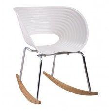 White Vac Arm Rocker Chair by Fine Mod Imports
