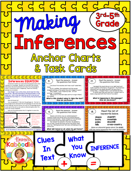 Making Inferences Task Cards And Anchor Charts Pinterest