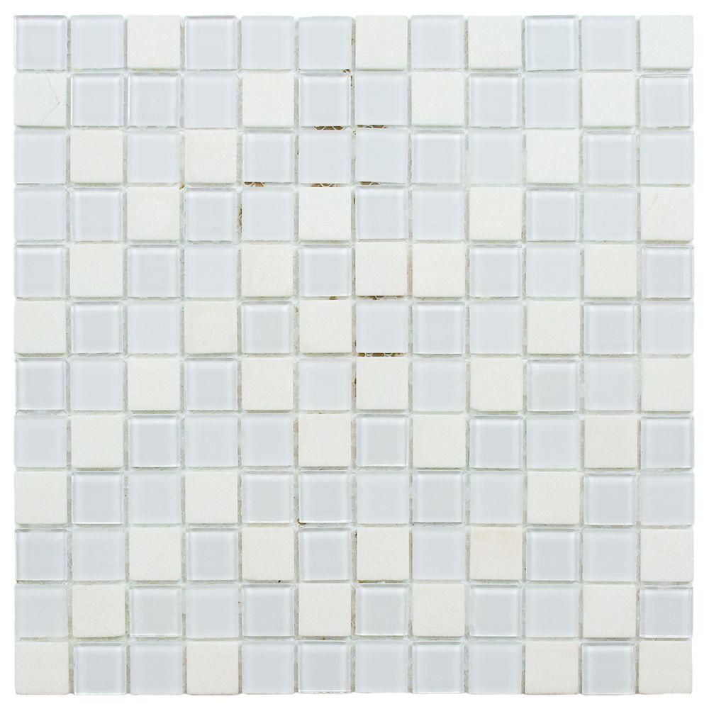 Merola Tile Spectrum Square Cordia 11 3 4 In X 11 3 4 In X 4 Mm Glass And Stone Mosaic Tile Gshssqcr The Home Depot Mosaic Wall Tiles Stone Mosaic Wall Stone Mosaic Tile