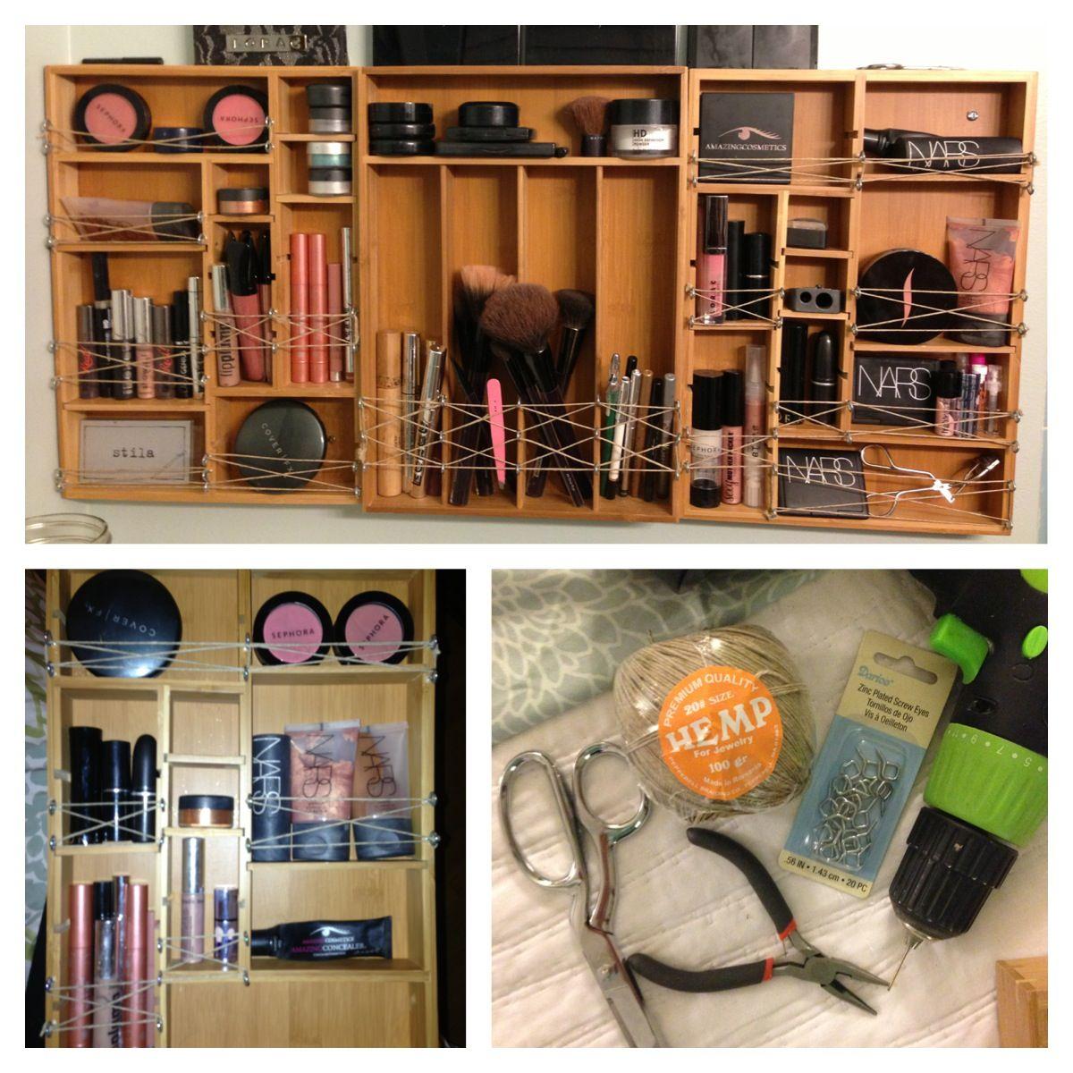 Diy Wall Makeup Organizer You Ll Need Enough Bamboo Drawer