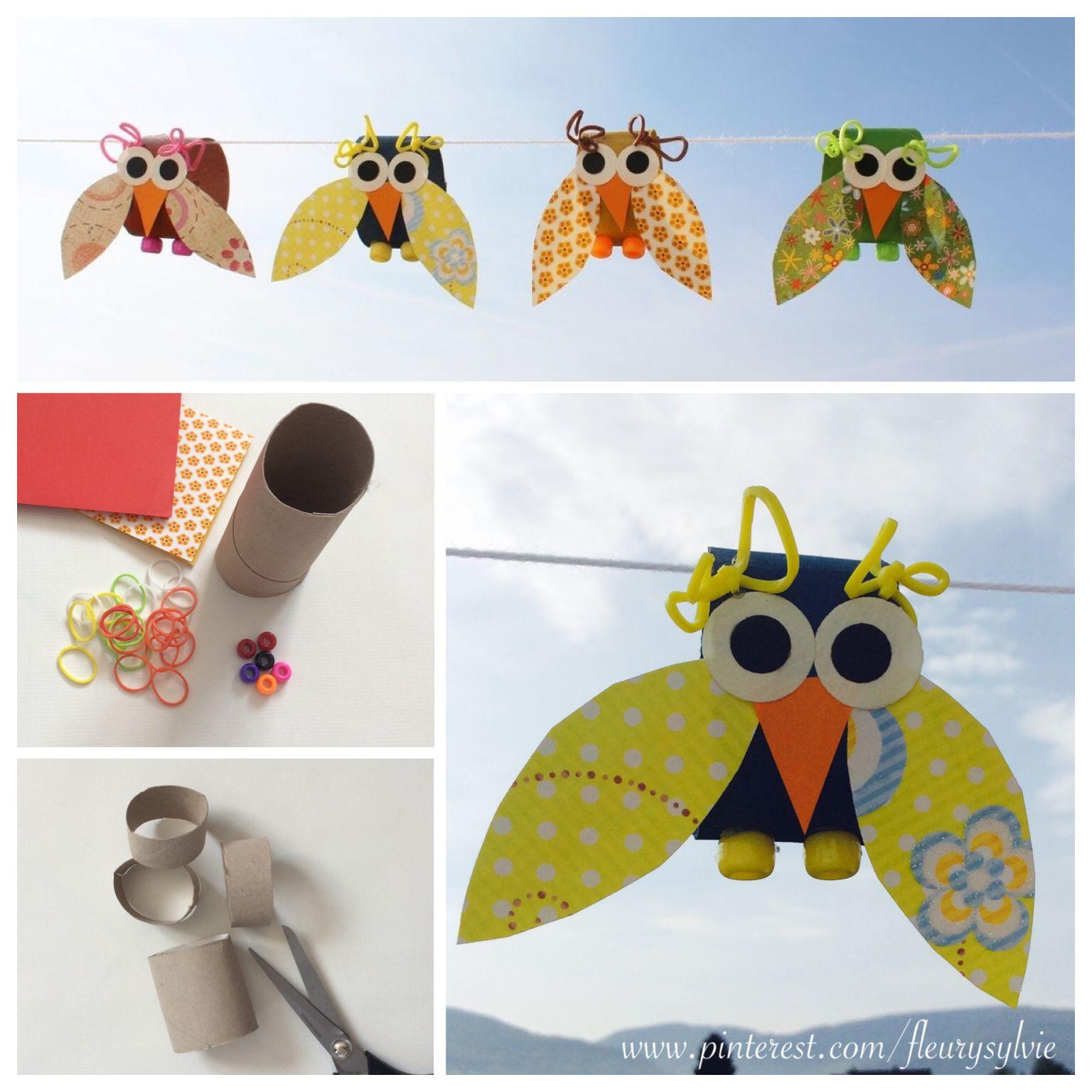 Bricolage enfant petits oiseaux avec rouleau papier wc et rainbow loom - Bricolage papier toilette ...