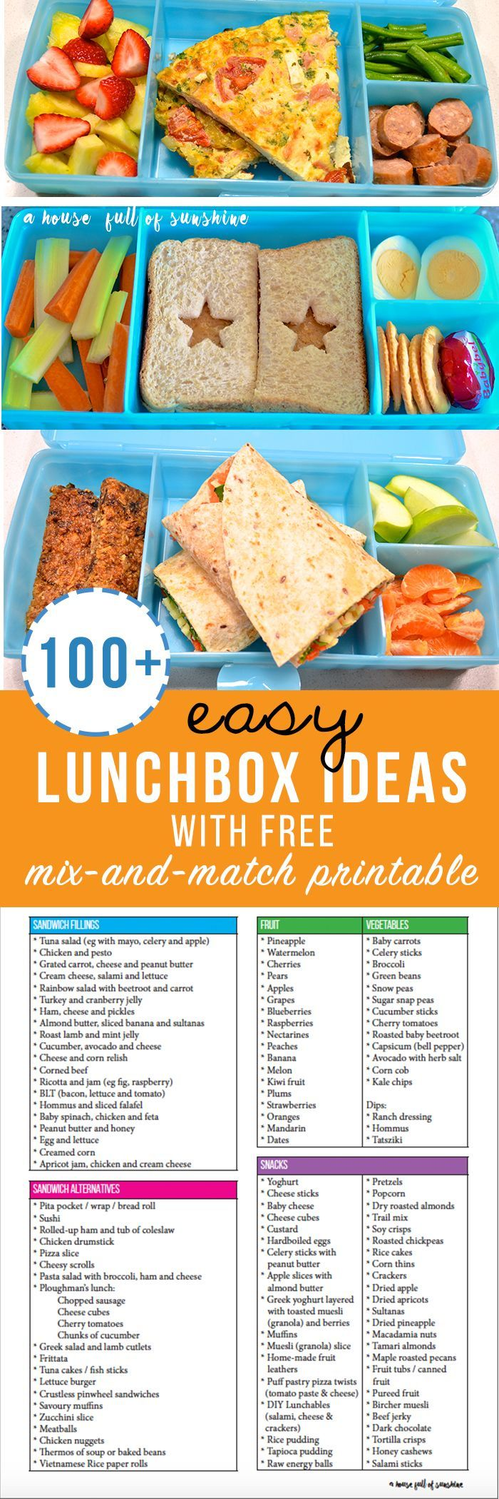 100+ Easy Lunchbox Ideas (with free mix-and-match printable!)