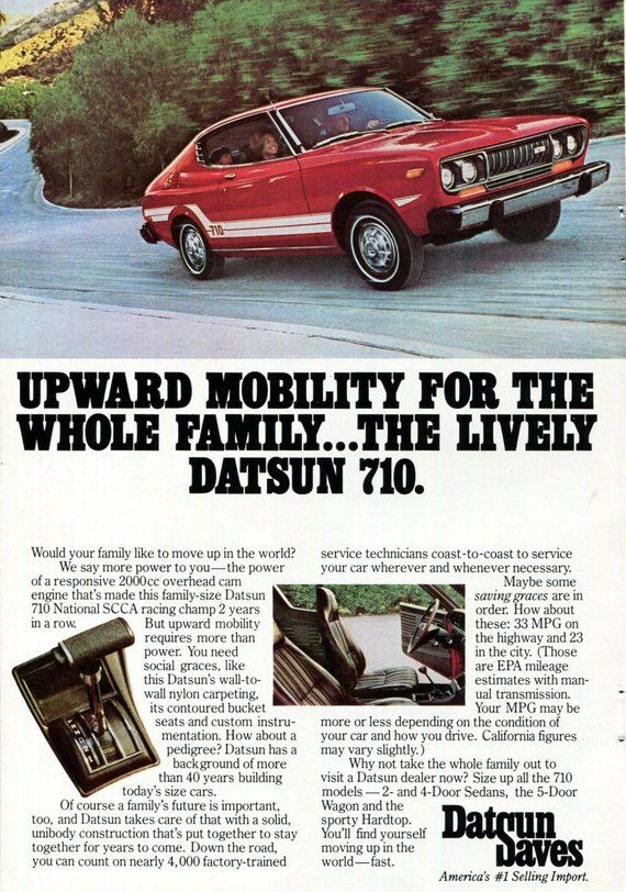 DATSUN 710 Car Ad 1970s 1975 Datsun 710 Red and White ...