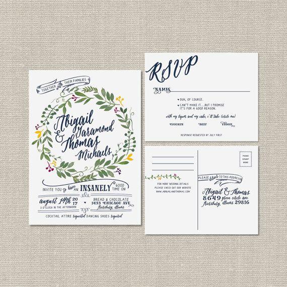 Rustic Romantic Wedding Invitation *DEPOSIT* Paper Invitations