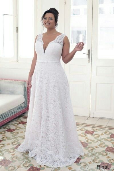 Elegant lace champagne plus size wedding gown creation. Comes with ...
