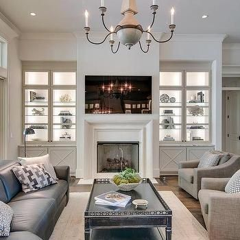 Built Ins With Lighted Glass Shelves Built In Shelves Living Room Glass Shelves Decor Fireplace Built Ins