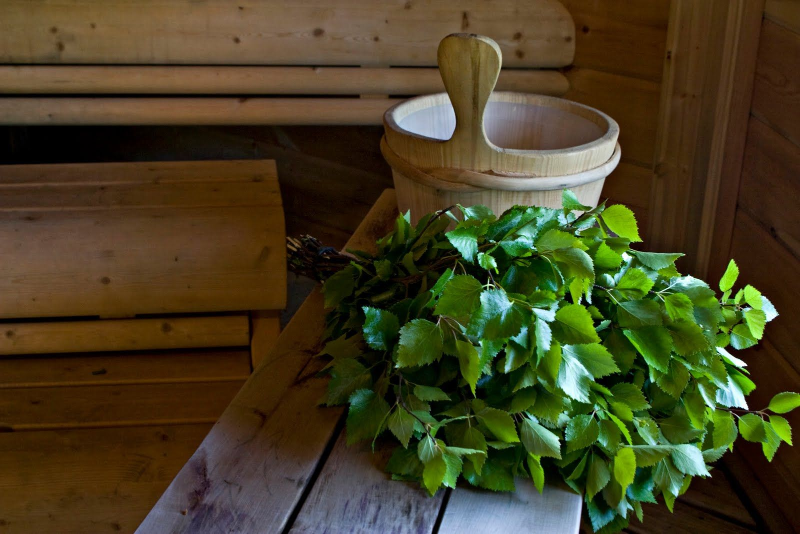 Finnish sauna with the birch  branch bath whisk. Used to increase circulation to perspire and cleanse the body followed by a soapy basin bath and rinse. Best feeling in the world.