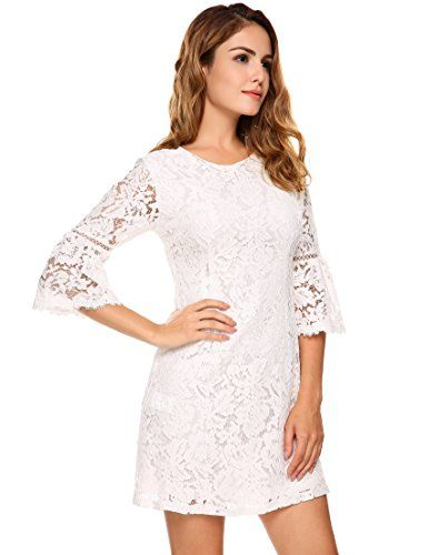 48a64bb30d1 Womens 3 4 Flare Sleeve Floral Lace A-line Cocktail Party Dress (8 Colors    2 Styles)