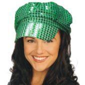 Green Sequin Newsboy Cap