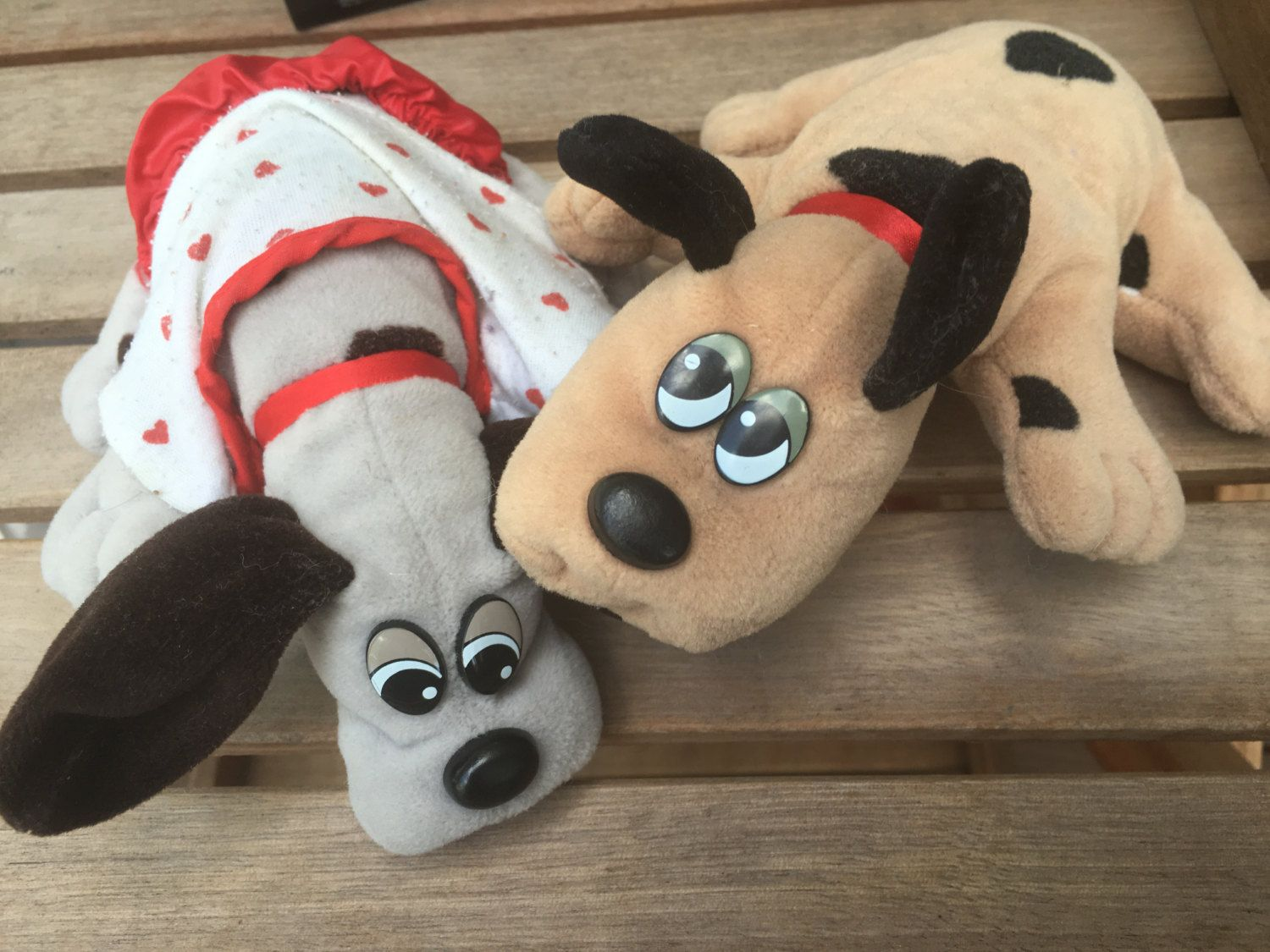 Vintage Pound Puppies Tan and grey Plush 1980s by HollyWouldFind