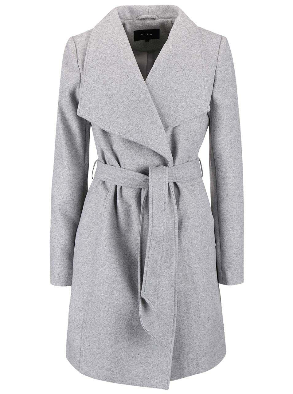 ccbc13825e Světle šedý kabát s páskem VILA Director Vila, Fashion, Vero Moda, Dress,