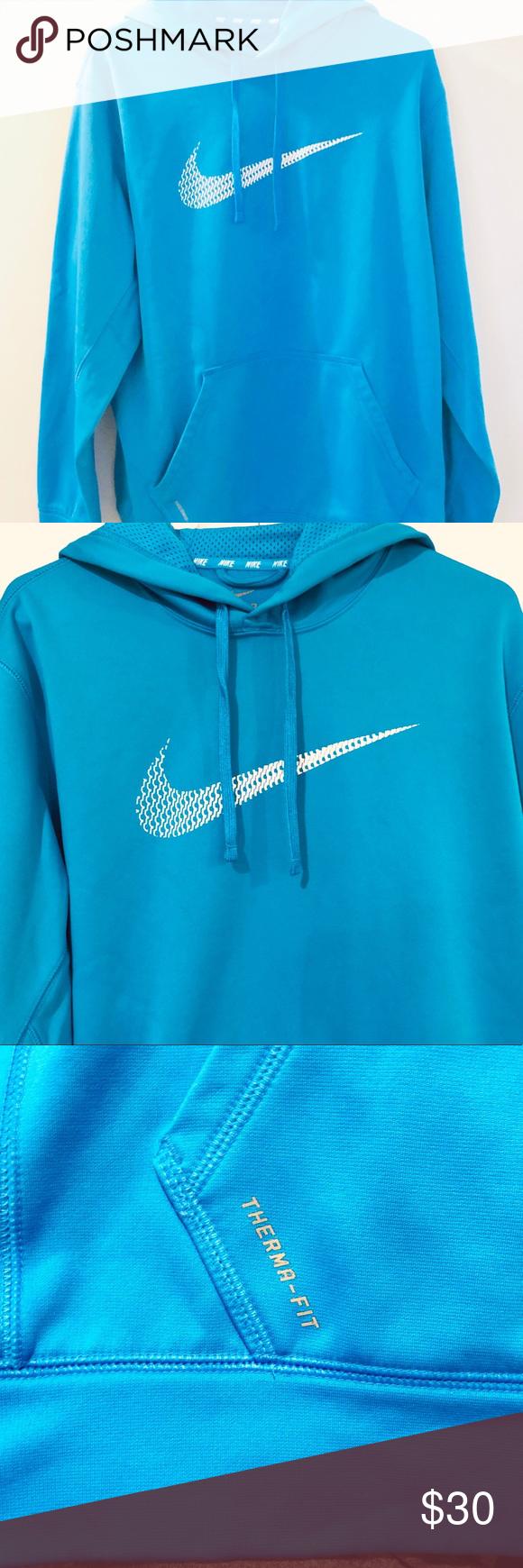 Nike Thermafit Aqua Blue Notch Neck Hoodie Excellent Used Condition Like New Nike Aqua Blue White Therma Fit Notch Neck Clothes Design Neck Hoodie Hoodies [ 1740 x 580 Pixel ]