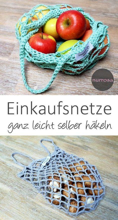 Einkaufsnetze selber häkeln DIY Anleitung Ein weiterer Schritt in ein besseres Leben: plastikfrei #crochetdiy