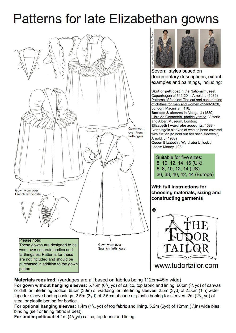 Women\'s Patterns - Pattern for Women\'s Late Elizabethan Gowns -The ...