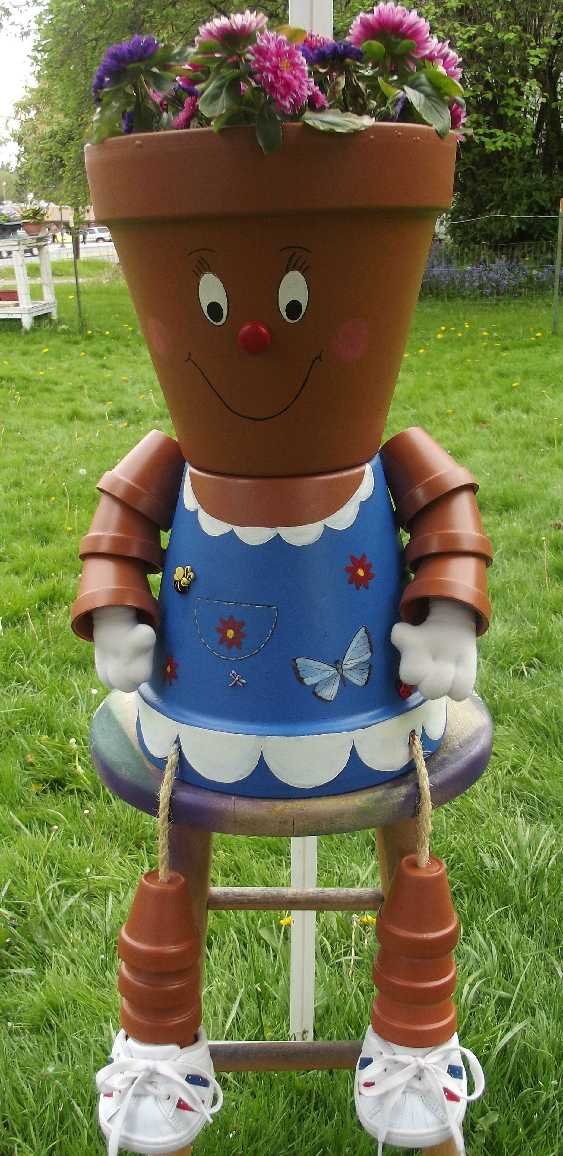 Crafts with clay pots - Blue Flower Pot Girl