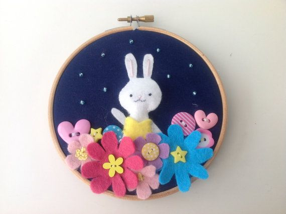 Bunny rabbit art - colourful hoop art with felt flowers and buttons