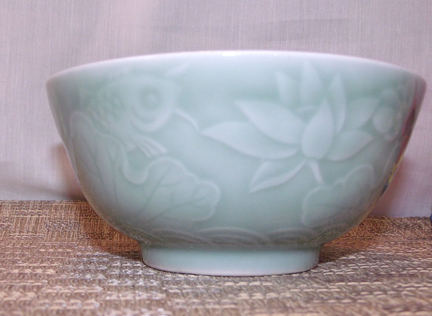 Lovely Vintage Celadon Green Rice / Soup Bowl ~ Detailed Koi u0026 Lotus Design ~ Chinese Asian Pottery Green Porcelain : asian living dinnerware - pezcame.com