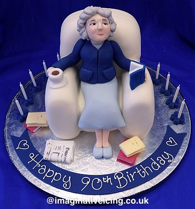 Miraculous Granny Sat In An Armchair Birthday Cake Grandma Cake 90Th Funny Birthday Cards Online Chimdamsfinfo