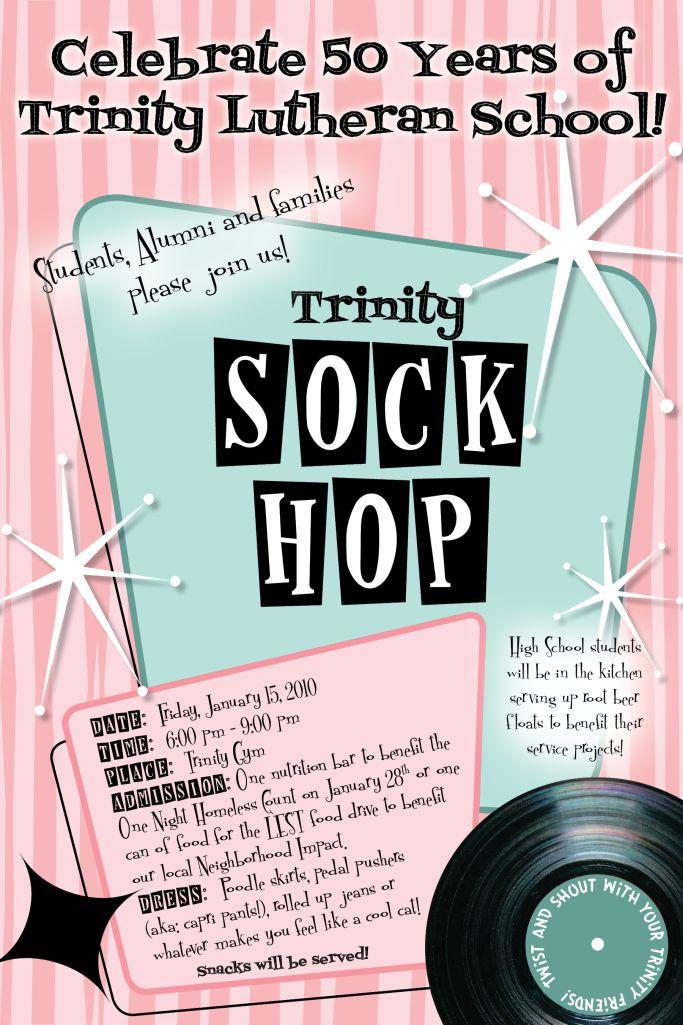 school sock hop poster
