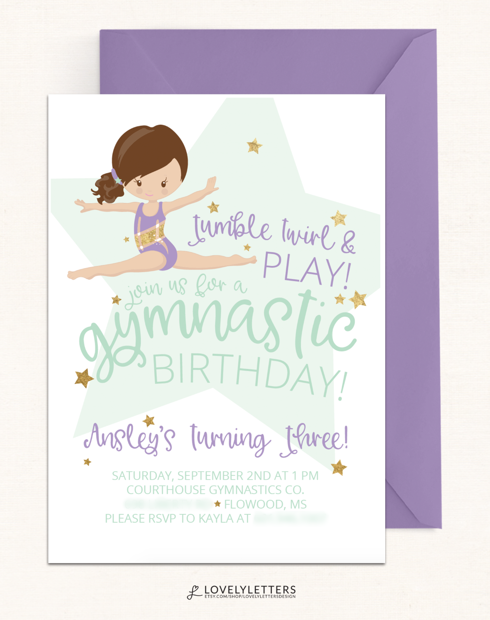 Gymnastics Invitation Gymnastic Birthday Invitation DIGITAL