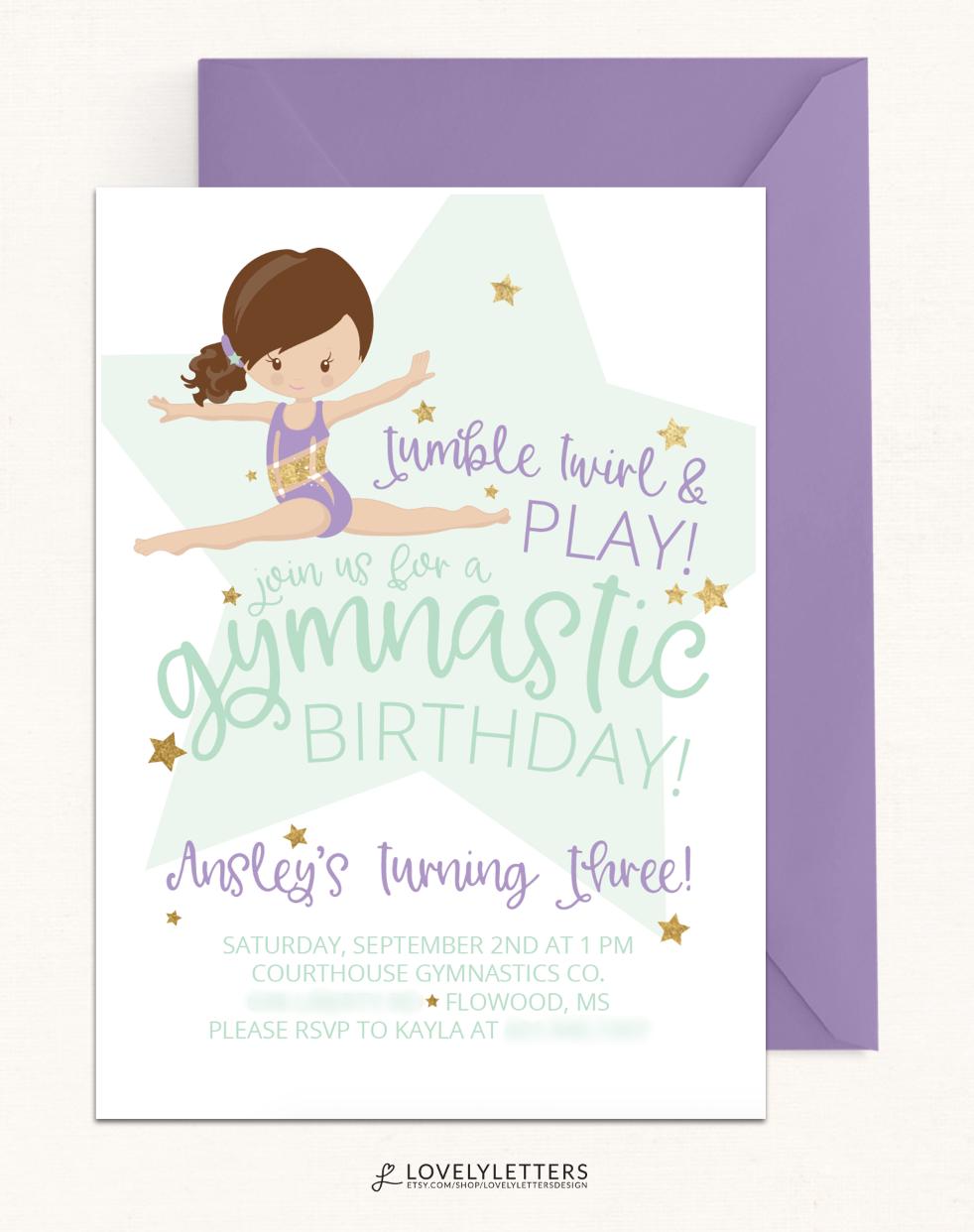 Mint & Purple Gymnastic Birthday Invitation / Gymnastic Invitation ...