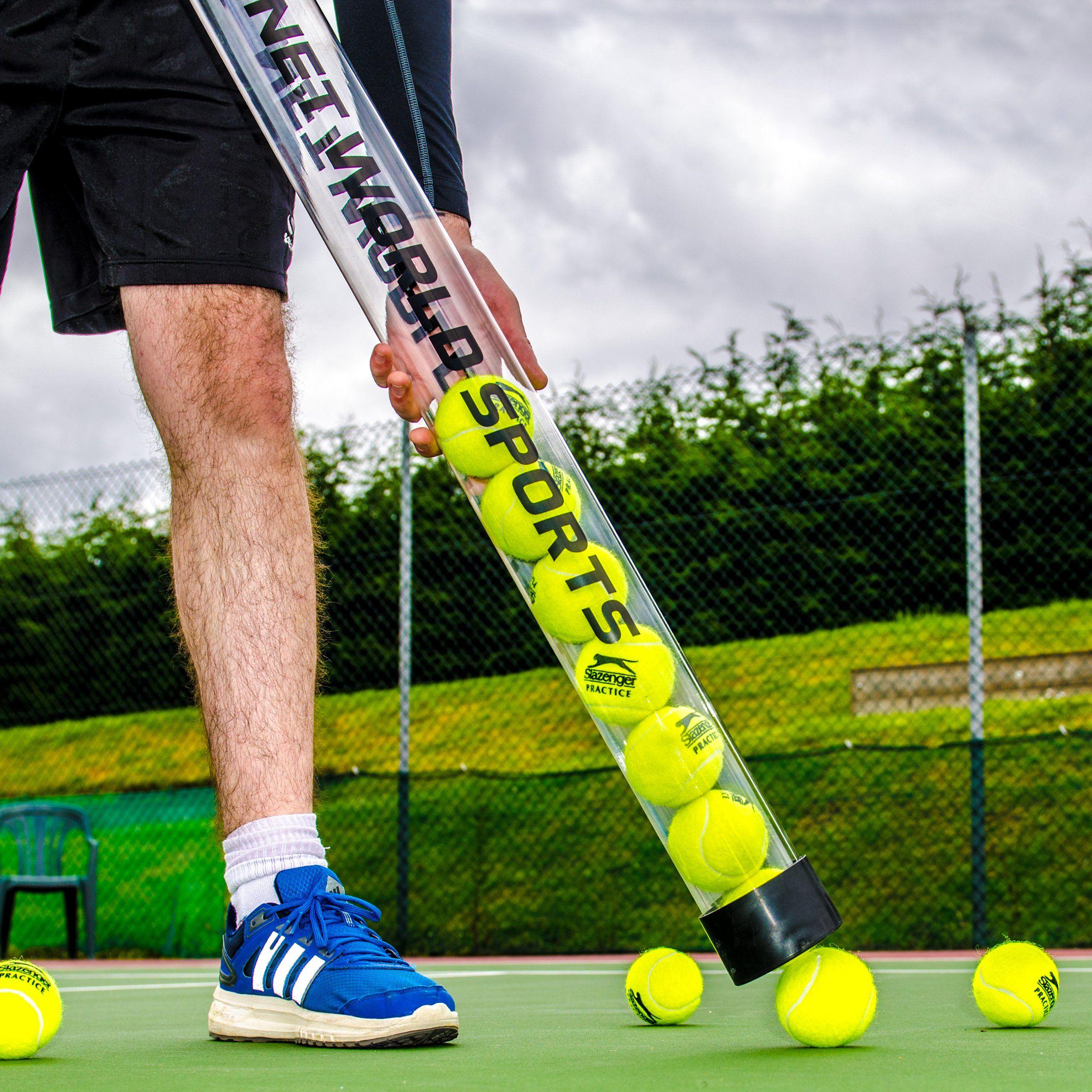 Tennis Ball Pick Up Tube Ball Collector Holds 15 Tennis Balls Net World Sports 15 Ball Capacity Lightweight See Through Tennis Ball Sports Tennis Balls