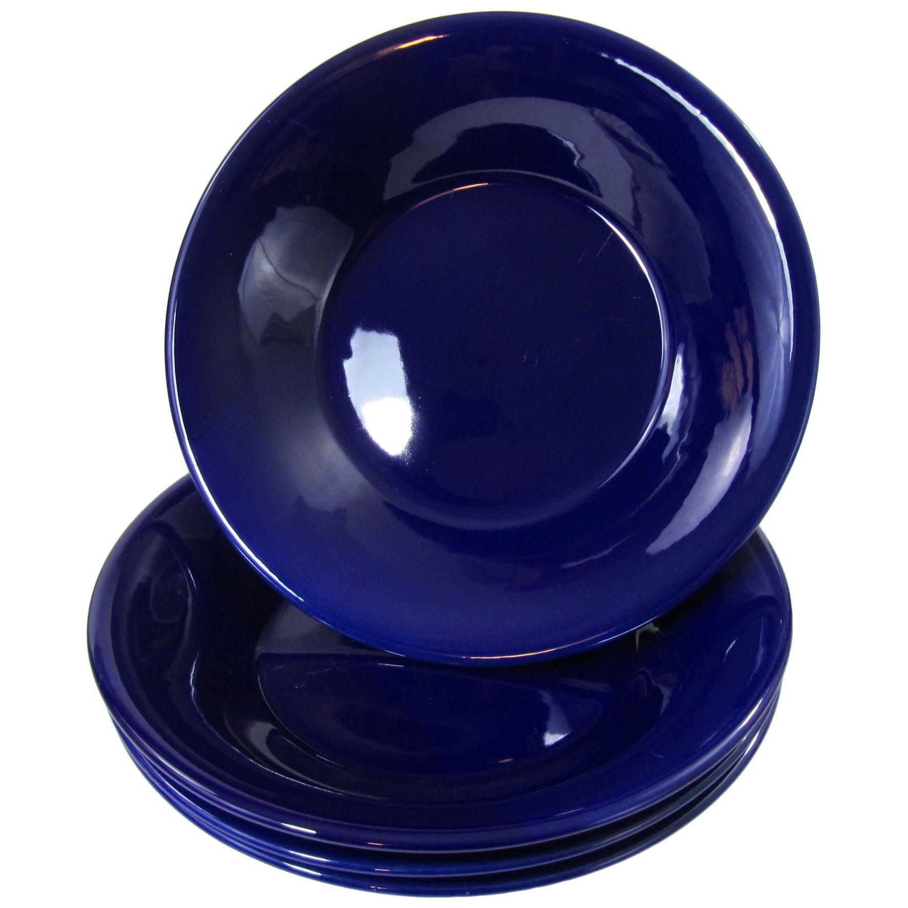 Le Souk Ceramique UBLU39 Stoneware Salad/Pasta Bowls, Set of 4, Solid