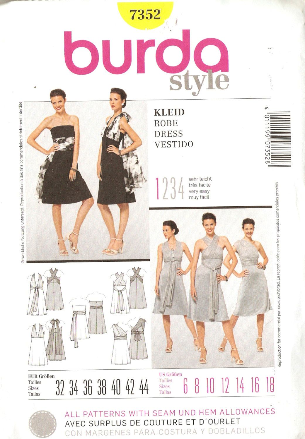 Burda Style 7352 Misses\' Infinity Style Evening Dress Sewing Pattern ...