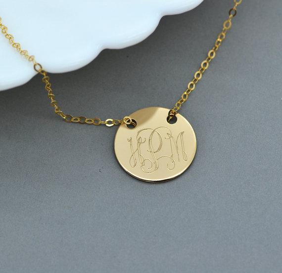 Gold monogram necklace engraved disc necklace personalized gold monogram necklace engraved disc necklace personalized necklace custom monogram initial necklace pesronalized disc aloadofball Gallery