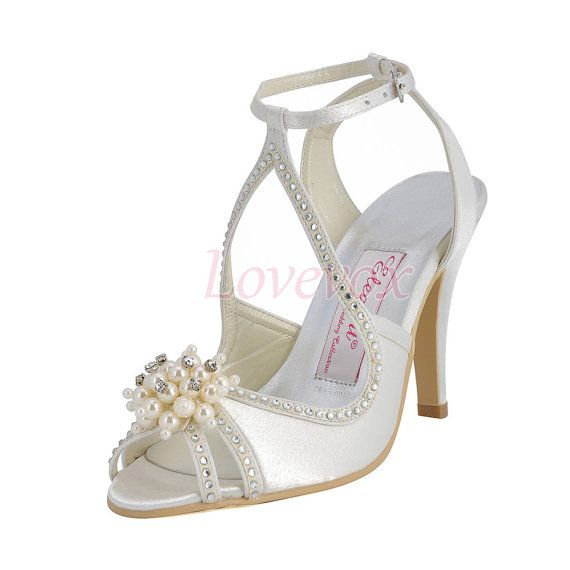 3.5 Inch Ivory Wedding Shoes with Ankle Straps Pearls Crystal Ivory Bridal  Shoes High Heel Sandals 29d943e5a81c