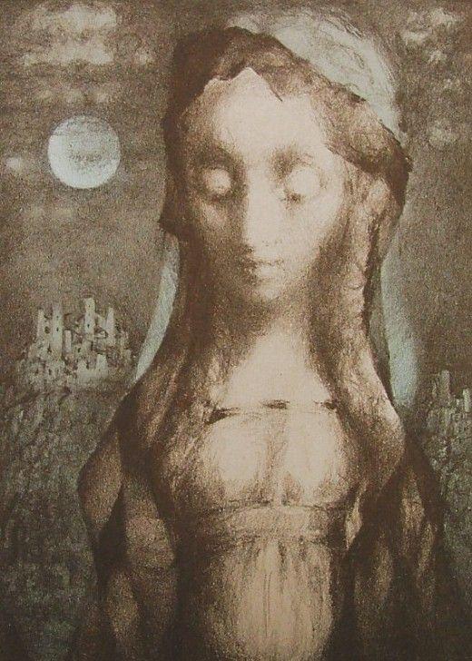 JIŘINCOVÁ Ludmila (1912-1994): Dívka s měsícem.