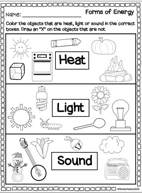 Forms Of Energy Heat Light Sound Second Grade Science First