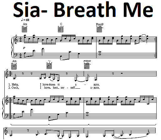 Sia Breathe Me Sheet Music Digital Download Music Pinterest