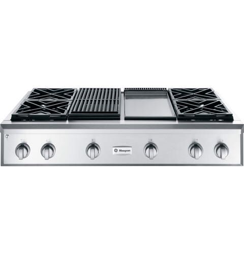 Gas Cooktop With 4 Burners Grill Section And Flat Top Section Gas Cooktop Monogram Appliances Cooktop