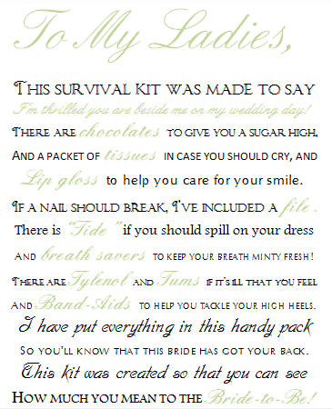 Bridesmaid Survival Kit Poem | Wedding Tips and Inspiration
