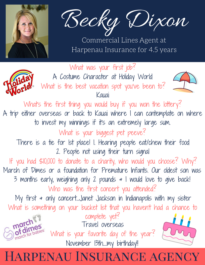 It S Time For Our December Staff Spotlight Meet Becky A Commercial Lines Agent At Harpenau Insurance Employee Recognition Fun At Work This Or That Questions