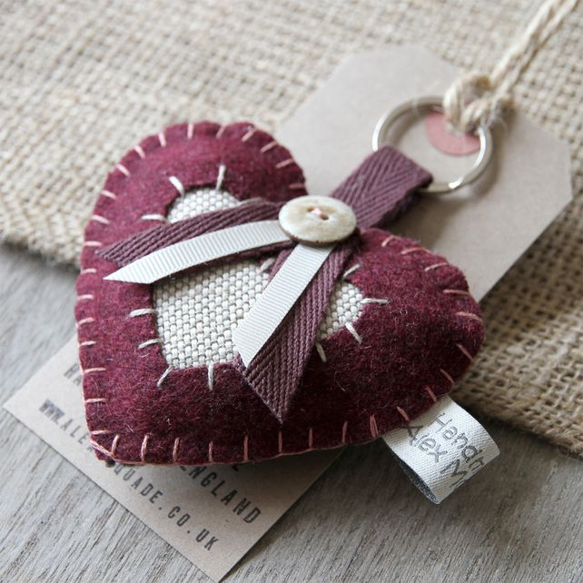 Heart Key Ring, £8.50 By Alex McWade Textiles on Folksy