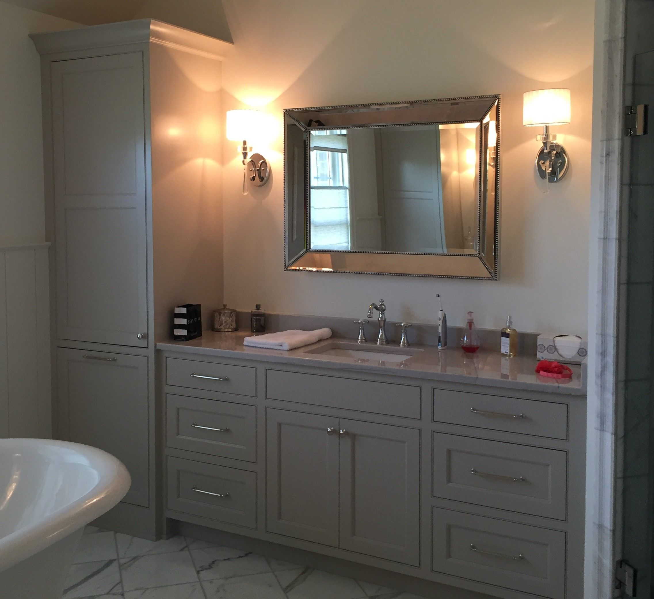 Bathroom Vanity And Linen Cabinet painted inset vanity with linen closet and laundry basket pull out