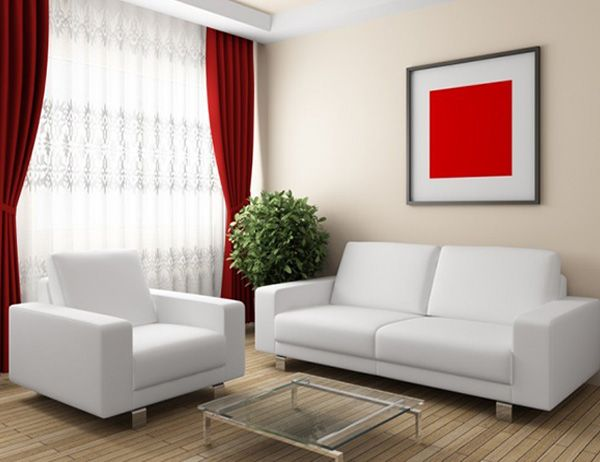 Minimalist Small Living Room Design With Red Curtains Minimal Living Room Living Room White Small Living Room Design