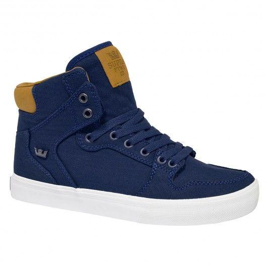 SUPRA Vaider Shoes navy brown white chaussures de skate montantes 89,00 € #supra #suprafootwear #suprashoes #skateshoes #sneakers #sneaker #shoes #skate #skateboard #skateboarding #streetshop #skateshop @playskateshop