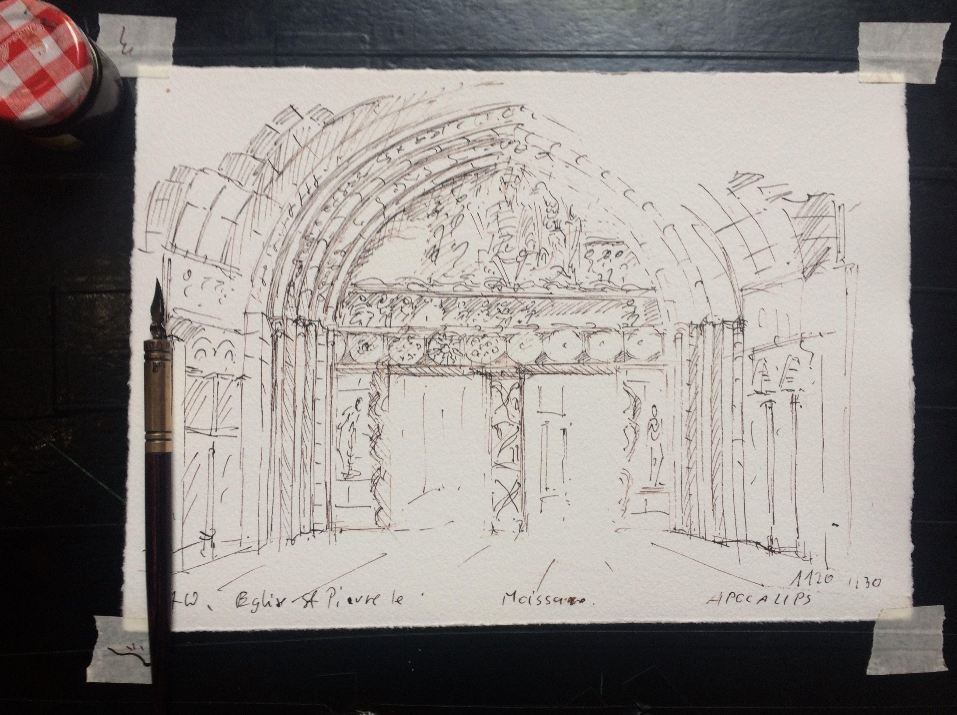 Dessin D Architecture A L Encre Et A La Plume Portail De L Eglise