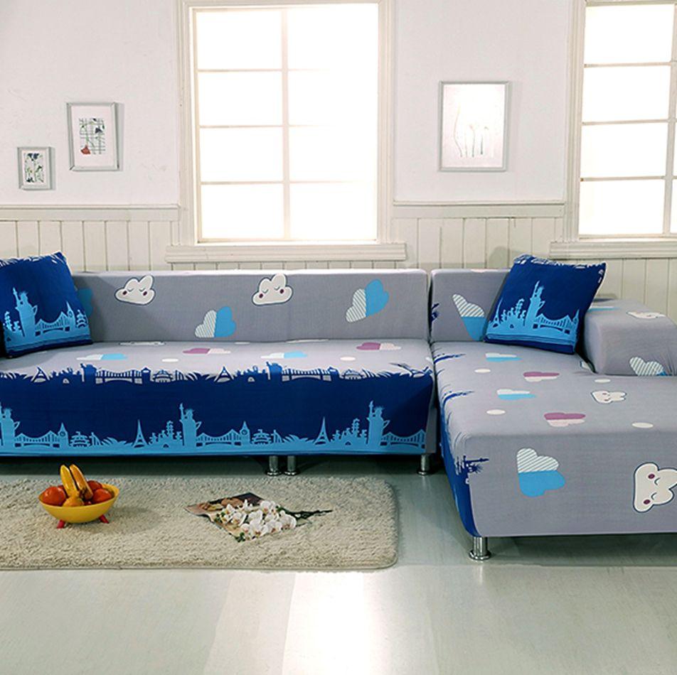 Grey And Blue L Shape Sofa Covers For Living Room 100 Polyester Corner Sofa Cover 2pcs Anti Slip Sofa Covers 2pcs Cushion Cover