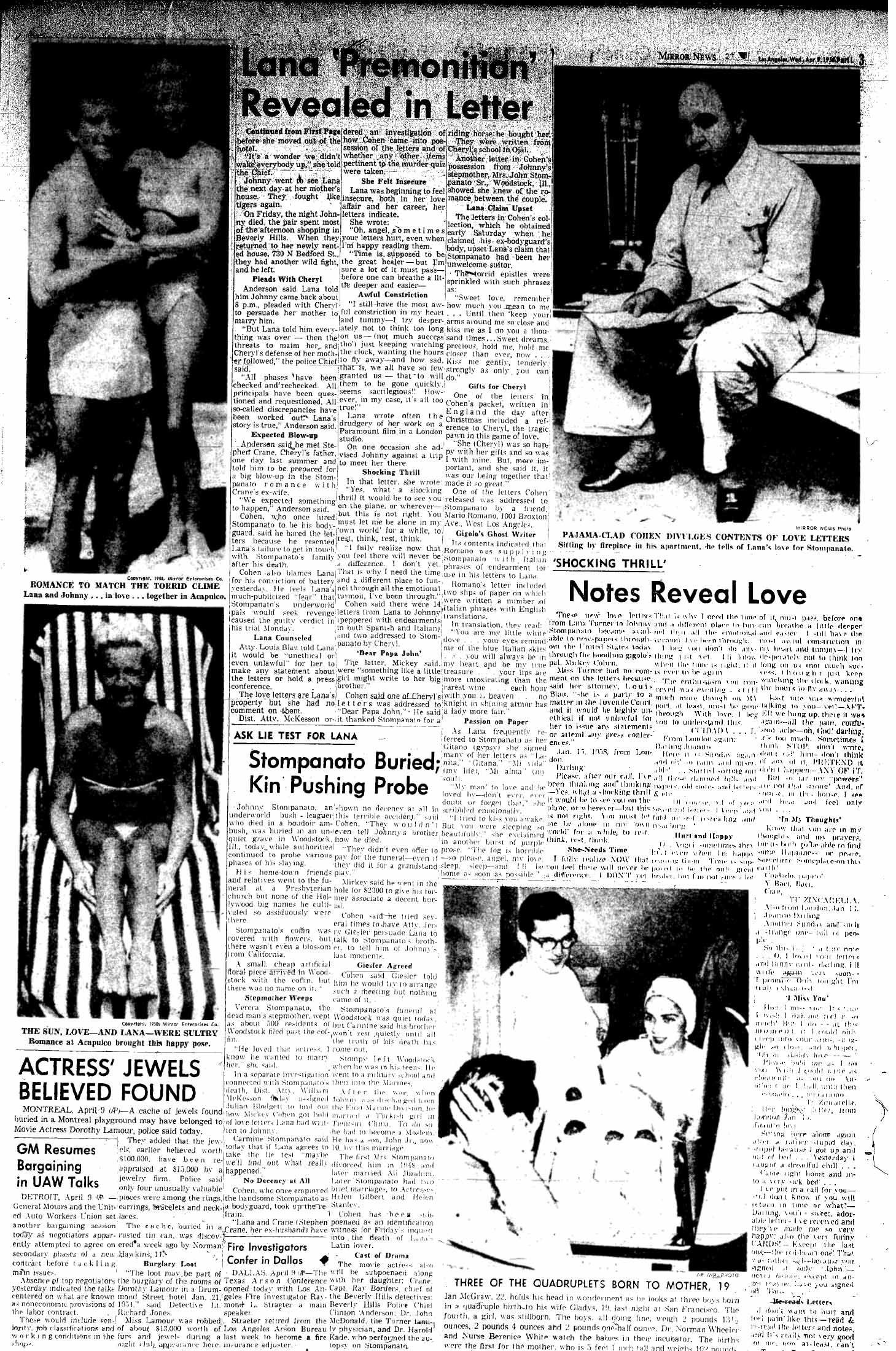 1958 Lana Turner's Daughter Mickey Cohen TV, movies