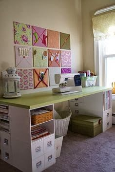The Best Diy And Decor The Cubes Are From Michaels Craft Store Craft Tables With Storage Sewing Rooms Craft Room Organization