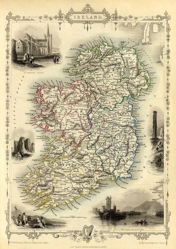 Print Map Of Ireland.Ireland Map Old Map Of Ireland Old City Map Print Fine Print