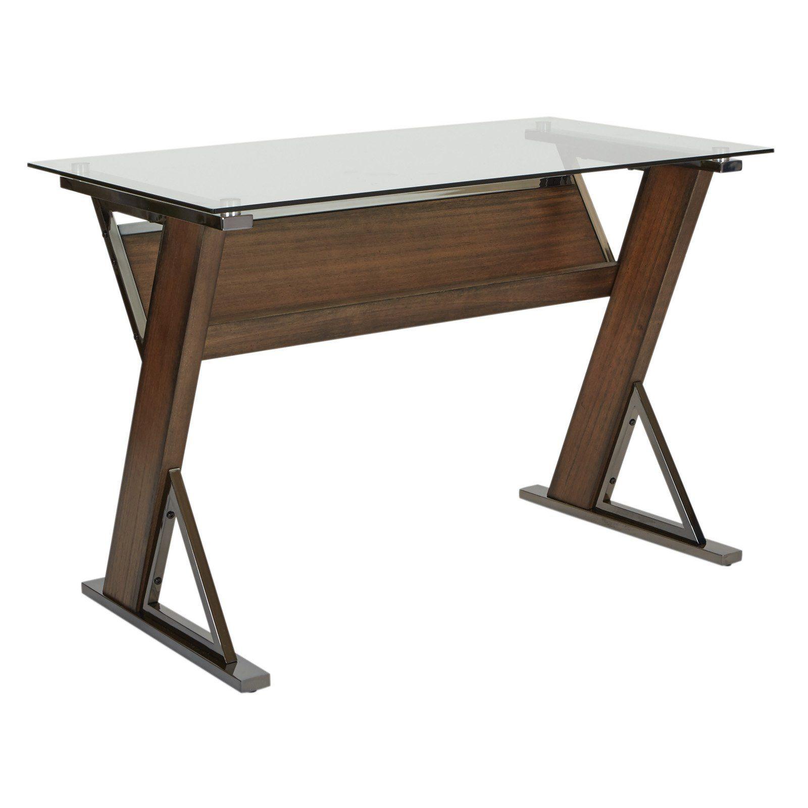 Osp Designs Eureka Long Computer Desk Glass Top Desk Long Computer Desk Long Desk